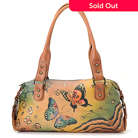 711-117 - Anuschka Hand-Painted Leather Zip Top Satchel Bag
