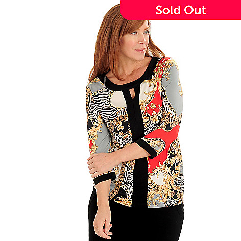 711-124 - Kate & Mallory Status Print Knit Boat Neck Contrast Trimmed Keyhole Top