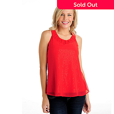711-125 - Glitterscape® Chiffon Overlay Sleeveless Sequined Top