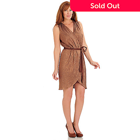 711-126 - Kate & Mallory Textured Knit Sleeveless Removable Tie Belt Faux Wrap Dress