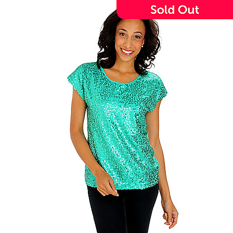 711-127 - Glitterscape Stretch Knit Extended Shoulder Sequined Front Scoop Neck