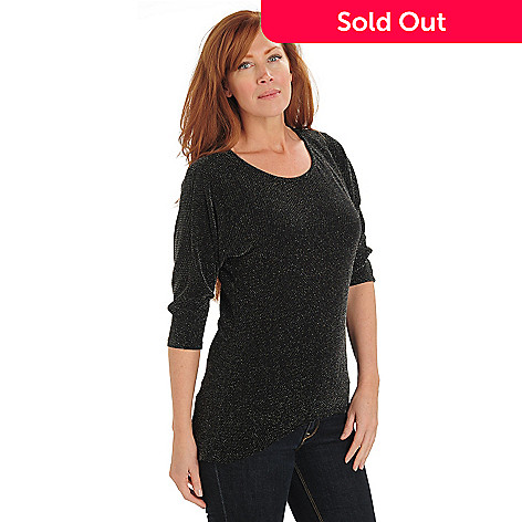 711-135 - aDRESSing WOMAN Metallic Knit 3/4 Dolman Sleeved Scoop Neck Hi-Lo Top