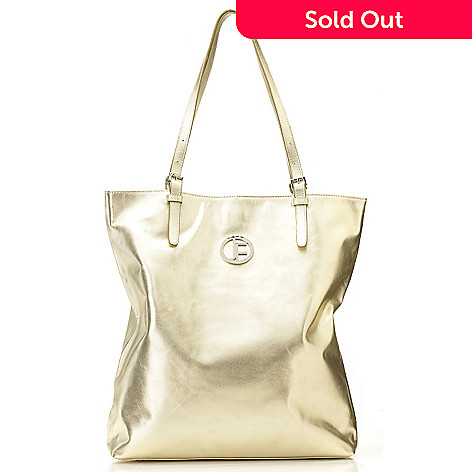 711-242 - Jack French London Metallic Leather Double Handle Buckle Detailed Tote Bag