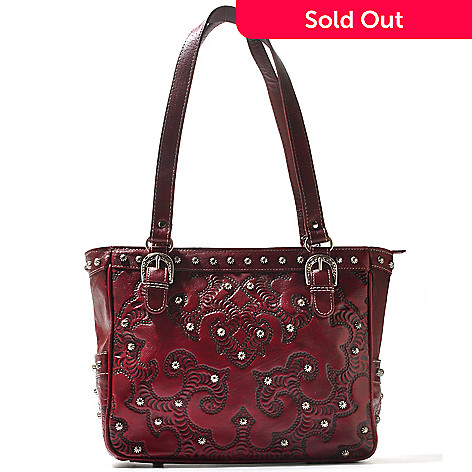 711-252 - American West Hand-Tooled Leather Stud Detailed Zip Top Tote Bag
