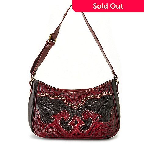 711-254 -  American West ''Annie's Secret'' Hand-Tooled Leather Shoulder Bag