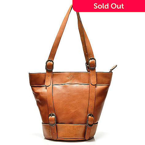 711-255 - Patricia Nash Leather Zip Top Bucket Bag