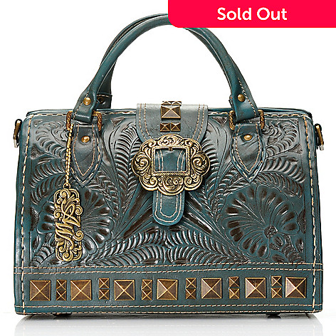 711-258 - American West Hand-Tooled Leather Stud Detailed Large Doctor Satchel