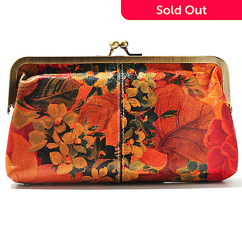 711-259 - Patricia Nash Leather ''Potenaz'' Kisslock Clutch w/ Detachable Chain Shoulder Strap