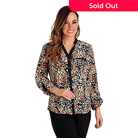 711-263 - Kate & Mallory® Print Woven Tab Sleeved Mandarin Y-Neck Two-Pocket Blouse
