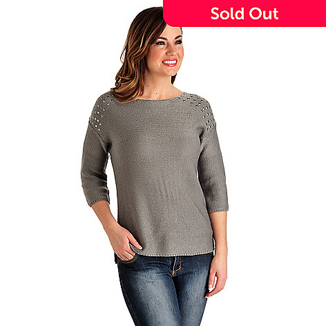 711-265 - Kate & Mallory® Garter Stitch Knit Elbow Sleeved Stud Shoulder Pullover Sweater