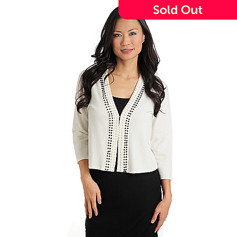 711-273 - Love, Carson by Carson Kressley Sweater Knit Hook & Eye Closure Beaded Cardigan