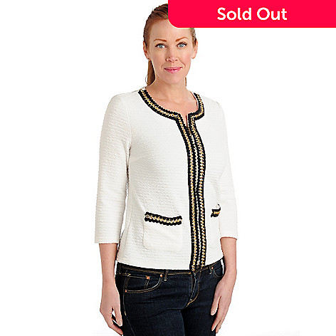 711-275 - Love, Carson by Carson Kressley Textured Knit Chain Detail Collarless Jacket