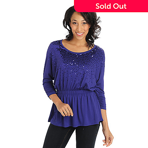 711-295 - Glitterscape® Stretch Knit Elastic Waist Sequin Neckline Top