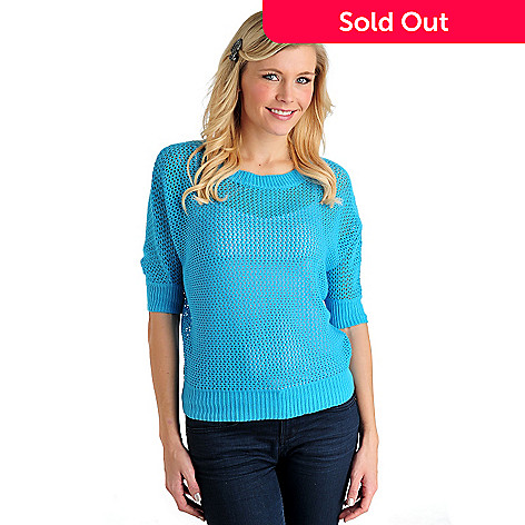 711-303 - WD.NY Crochet Knit Dolman Sleeved Scoop Neck Sweater