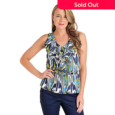 711-304 - WD.NY Printed Charmeuse Sleeveless Ruffle Neck Peplum Blouse