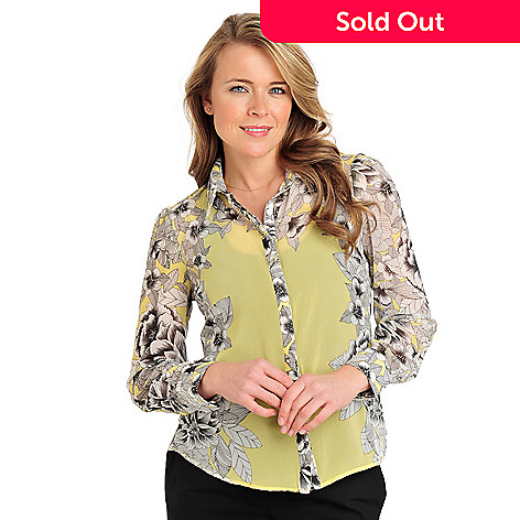 711-310 - WD.NY Georgette Long Sleeved Mirrored Print Blouse