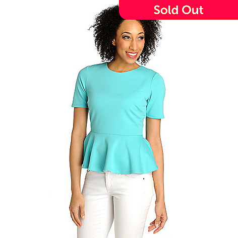 711-311 - WD.NY Stretch Ponte Elbow Sleeved Zip Back Peplum Top