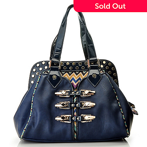 711-355 - Nicole Lee ''Sadona'' Chevron Print Double Handled Zip Top Satchel