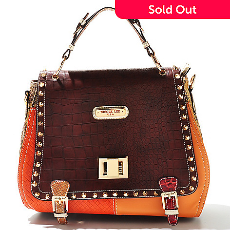 711-356 - Nicole Lee ''Mallory'' Reptile Embossed Stud Detailed Turn Lock Satchel
