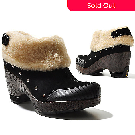 711-364 - Jambu Suede Leather ''Holland'' Sherpa Cuffed Ankle Boots