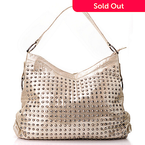 711-396 - LaTique ''Pacha'' Stud Detailed Metallic Hobo Bag