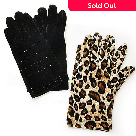 711-438 - Donna Salyers' Fabulous-Furs Set of Two Velveteen Stretch Gloves