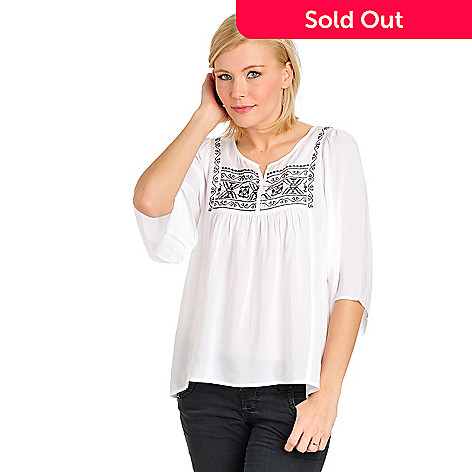 711-451 - One World Challis 3/4 Bell Sleeve Embroidered Bib Peasant Top