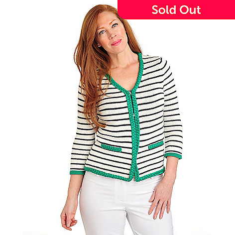 711-452 - Geneology Sweater Knit 3/4 Sleeved Braided Trim Striped Cardigan