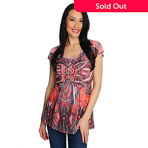 711-453 - One World Printed Knit Flutter Sleeved Satin Bib Faux Henley Top