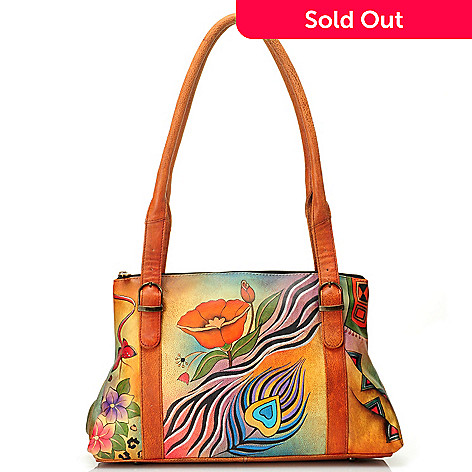 711-475 - Anuschka Hand-Painted Leather Double Handle Shoulder Bag