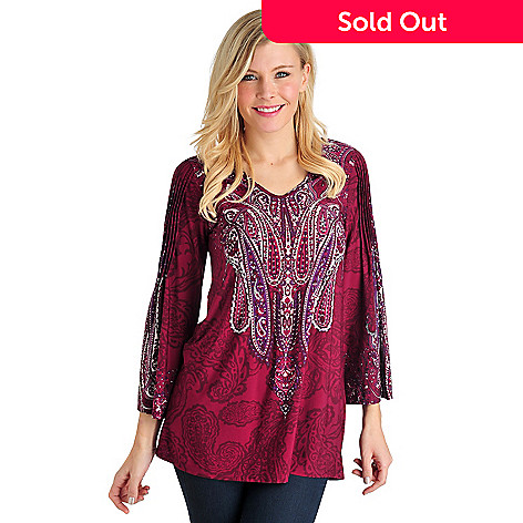 711-559 - Geneology Stretch Knit Bracelet Length Pin-tuck Detail Printed Tunic