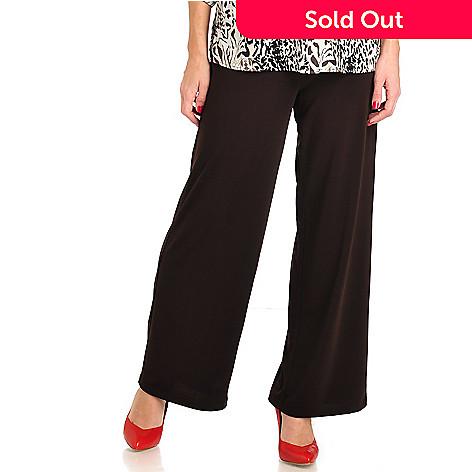711-561 - Kate & Mallory Crepe Jersey Half Elastic Waist Wide Leg Pants