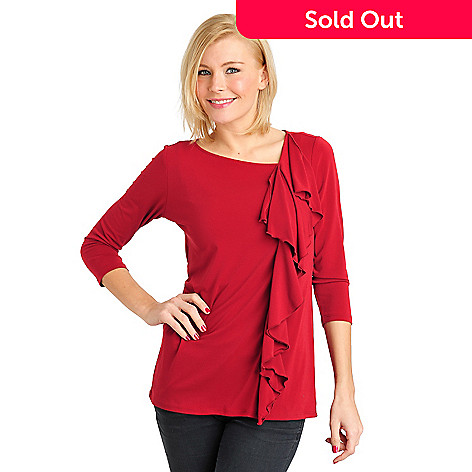 711-563 - Kate & Mallory® Crepe Jersey 3/4 Sleeved Ruffle Front Knit Top