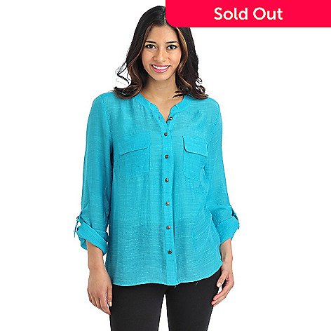 711-564 - Kate & Mallory Gauze Tabbed Sleeve Decorative Button Utility Shirt