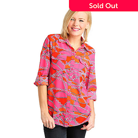 711-565 - Kate & Mallory Stretch Woven Roll Tab Sleeved Button Front Utility Shirt