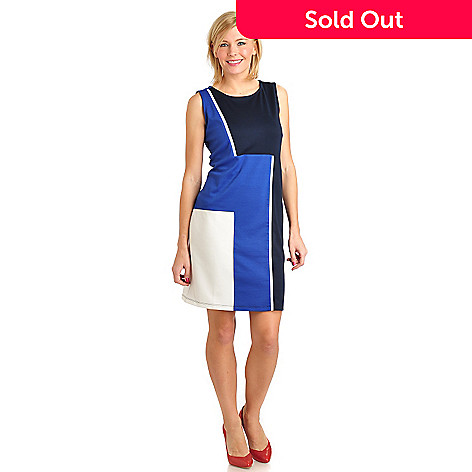 711-566 - Kate & Mallory® Stretch Ponte Sleeveless Geo Color Block Shift Dress