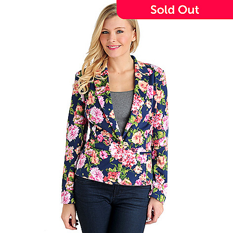 711-567 - Kate & Mallory® Stretch Ponte Welt Pocket Fully Lined Printed Blazer