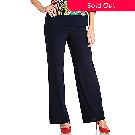 711-568 - Geneology Stretch Knit Elastic Waist Wide Leg Pants