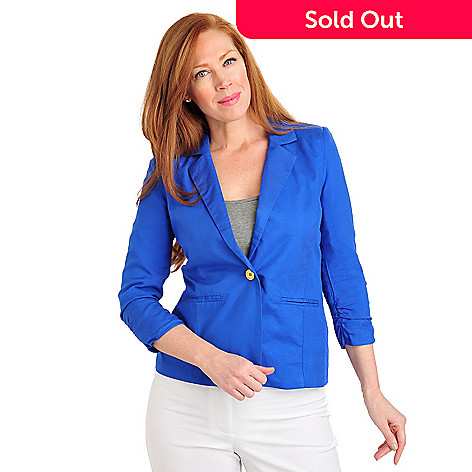 711-569 - Kate & Mallory® Rayon Twill Ruched Sleeve One-Button Lined Blazer