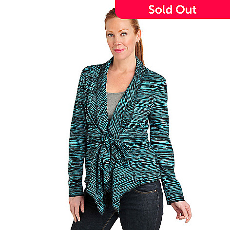 711-570 - Kate & Mallory Double Knit Space-Dyed Shawl Collar Tie-Front Jacket
