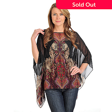711-572 - Kate & Mallory Chiffon Angel Sleeve Printed Blouse w/ Layering Camisole