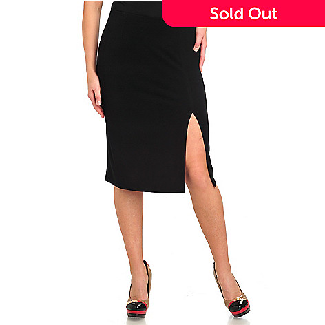 711-573 - Kate & Mallory® Crepe Jersey Elastic Waist Side Vent Skirt