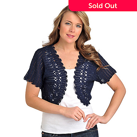 711-577 - Geneology Crochet Knit Short Sleeved Open Front Bolero Top