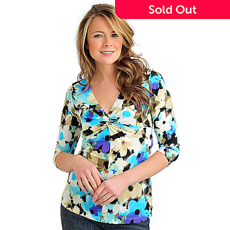 711-581 - Geneology Stretch Knit 3/4 Sleeved Twist Neck Empire Seam Top