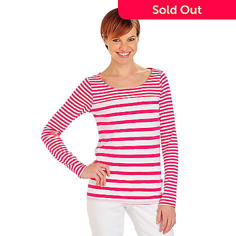 711-807 - OSO Casuals® Dual Stripe Knit Long Sleeved Scoop Neck Top
