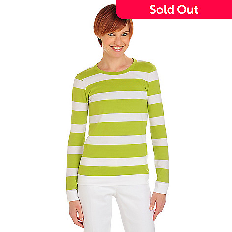 711-808 - OSO Casuals™ Stripe Knit Long Sleeved Solid Back Crew Neck Top
