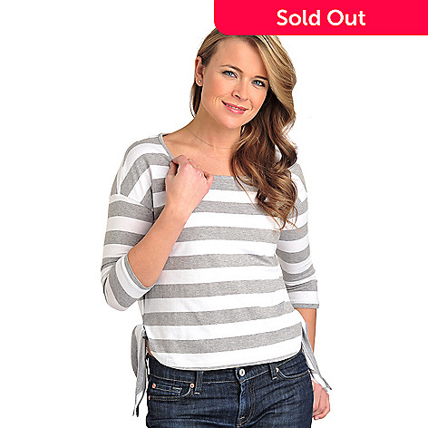 711-810 - OSO Casuals™ Stripe Knit 3/4 Sleeved Scoop Neck Side Tie Top
