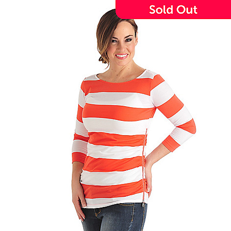 711-814 - OSO Casuals™ Stripe Knit 3/4 Sleeved Ruched Side Zipper Boat Neck Top