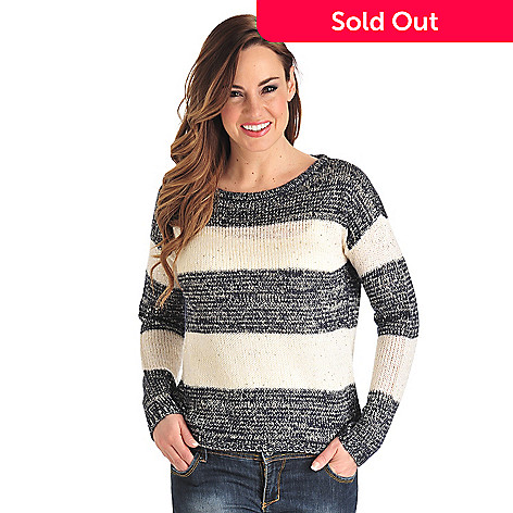 711-815 - OSO Casuals™ Sequin Knit Long Sleeved Drop Shoulder Striped Sweater