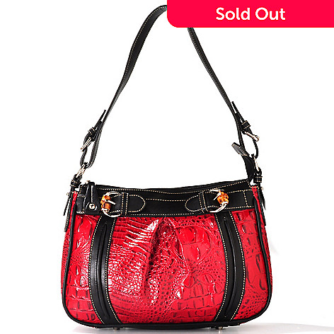 711-861 - Madi Claire Croco Embossed Leather ''Jamie'' Pleated Shoulder Bag